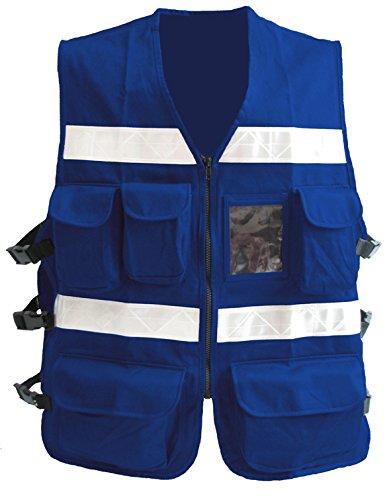 RsV Chaleco REFLEJANTE Gabardina 100% Algodon Modelo 1605 JLS Azul Rey