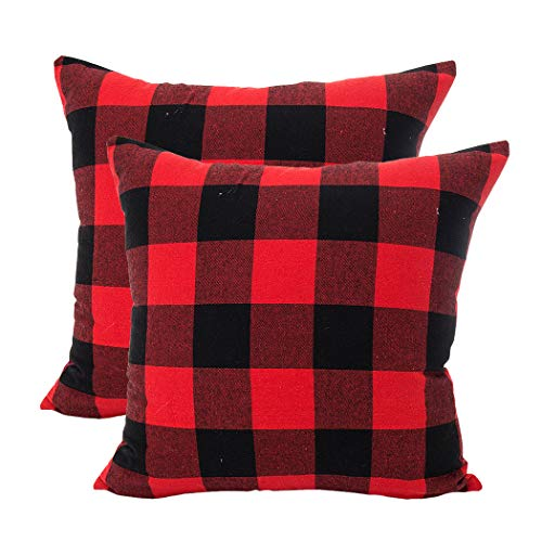 (LEIOH Christmas Decorations Retro Checkers Plaids Cotton Linen Pillow Covers 18x18 Inches Farmhouse Decorative Throw Pillow Covers Cushion Case for Sofa Bed Set of 2)