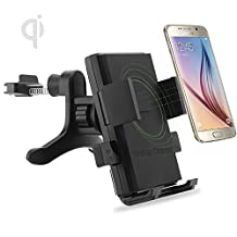 ONX3 (Air Vent Qi Wireless Charger) Microsoft Lumia 640 XL /Lumia 640 XL Dual Sim /Lumia 640 XL LTE /Lumia 640 XL LTE Dual Sim Universal Fast Charge QI Wireless Car Charger Station Mount Holder for Air Vent
