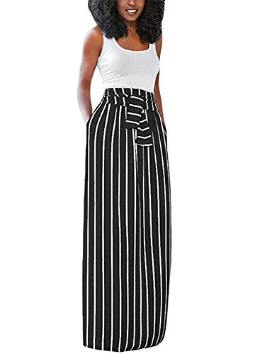 long black and white striped maxi dress - 8