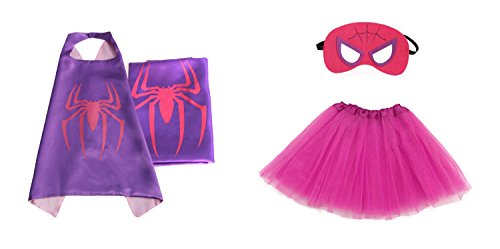 Rush Dance Kids Children's Deluxe Comics Super Hero CAPE & MASK & TUTU Costume (Spidergirl (Hot Pink Purple Reverse (Different Spiderman Costumes)