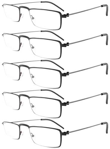 Eyekepper 5-Pack Straight Thin Stamped Metal Frame Half-Eye Style Reading Glasses Readers Black +2.25 ()