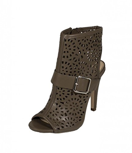 Delicious Women's Delight Cut Out High Heel Peep Toe Ankle Bootie with Side Zipper in Taupe Leatherette