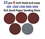 25 pcs 6 Inch Hook and Loop 600 1000 1500 2000 3000 Grit Sand Paper Sanding Discs