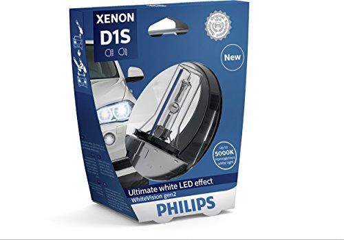 Philips WhiteVision Xenon Headlight Bulb D1S Gen2, Single Blister Pack 85415WHV2S1 (Philips D1s)