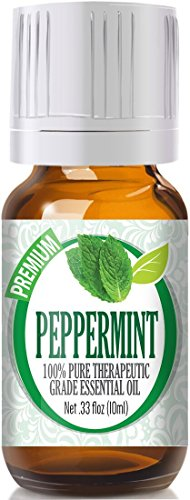 Peppermint Liquid Oil Massage - Healing Solutions Peppermint Essential Oil (100% Pure - Therapeutic Grade) - Undiluted Peppermint Oil for Diffuser, Oils to Repel Mice, for Hair Growth 10ml Bottle