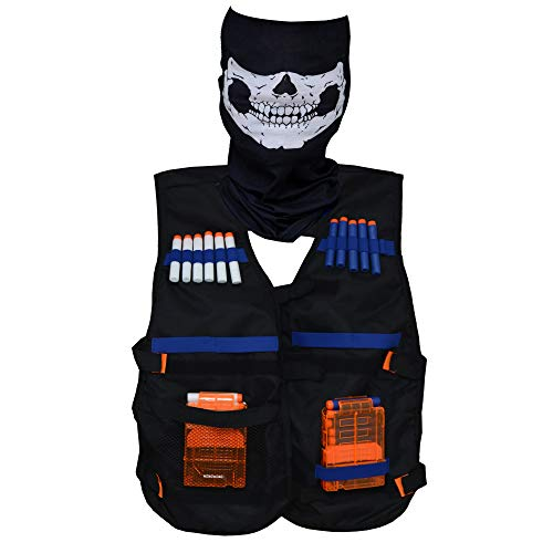 Boxiki kids Kids Tactical compatible with Nerf Vest Kit. Includes Refill Darts, Reload Clips, Face Mask, Wrist Band and Protective Glasses: Nerf Series Toys ()