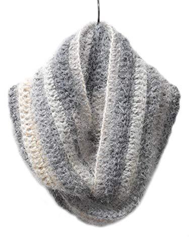 Faux Mohair Grey Tones Crochet Handmade Infinity Cowl Scarf ()