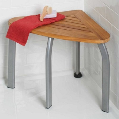 "Teak Wood Shower Bathroom Bench 22"" 250 Lbs Capacity"