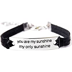 """TISDA """"You Are My Sunshine My Only Sunshine"""" Inspirational Leather Bracelet Stainless Steel Bangle Personalized Jewelry (Black)"""
