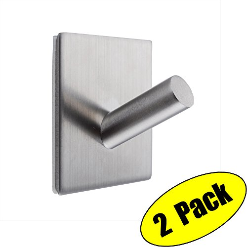 KES 3M Self Adhesive Hooks SUS 304 Stainless Steel Heavy Duty Small Coat Picture Hook Self Sitck On Wall Hook Sticky Brushed Finish 2 Pieces, A7063-2-P2 (Modern Brass Polished Picture Steel)