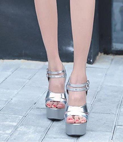 elegante 15cm 39 Sandalias high discotecas 38 Transpirable plata Moda heels banquetes Sexy impermeable AJUNR 5zqTn