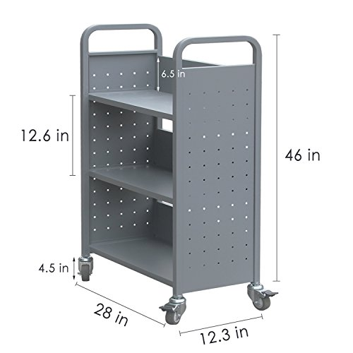 Rolling Library Book Cart Single Sided Flat Shelves with Lockable Wheels,200lbs Capacity (Grey) by Alice (Image #1)