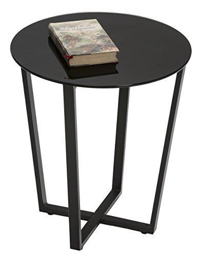Mango Steam Metro Glass End Table – Black Top Black Base