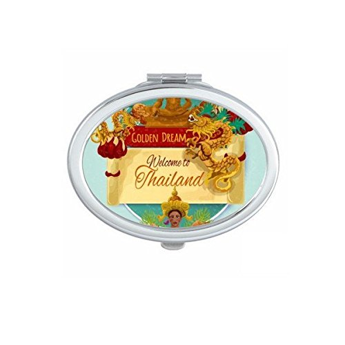 Kingdom of Thailand Thai Traditional Customs Watercolor Temple Dragon Buddha Art Illustration Oval Compact Makeup Pocket Mirror Portable Cute Small Hand Mirrors by DIYthinker