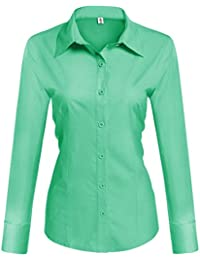 b363f7d359c1a Womens Long Short Sleeve Cotton Basic Simple Button Down Shirt