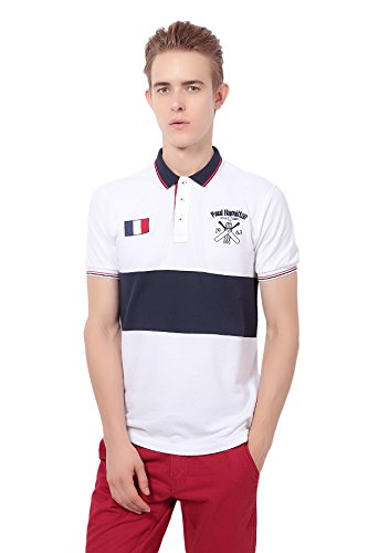 Pua1Hami1ton PH-26 Men's Casual Cotton Slim Solid Golf Short Sleeve Knit Sport Polo Shirt(M,White)