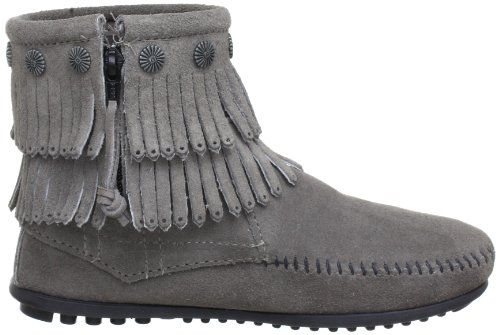 Boot Double Womens Grey Boots Zip Fringe Side Minnetonka zgUUI