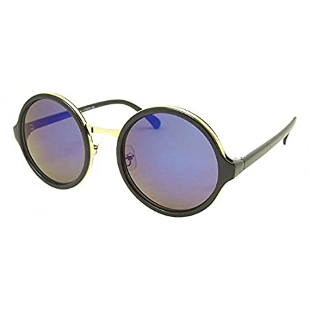 Chic-Net Sonnenbrille Damen rund dick Vintage Glamour getönt 400UV Metallbügel zweifarbig John Lennon braun golden mEk0j
