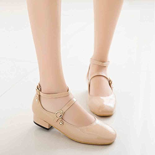 Apricot Heel Low Pumps Womens Block Jane Double Retro Belt Strapped Easemax Shoes Cut Mary Low Round Toe IPwaqdx6