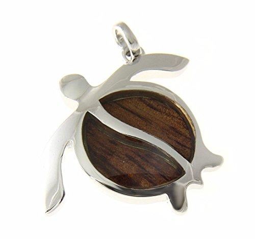 Koa Wood Hawaiian Honu Sea Turtle Rhodium Plated Brass Pendant