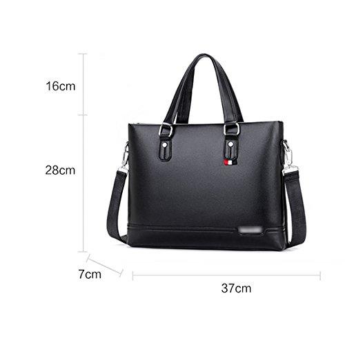Herren Aktentasche Leder Handtaschen Große Kapazität Geschäft Laptop-Tasche Lässig Schulter Umhängetasche Brown W6YsVQy
