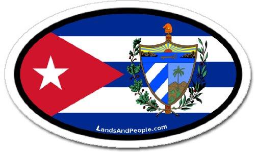 Cuba Cuban Flag and Coat of Arms Car Bumper Sticker Decal Oval