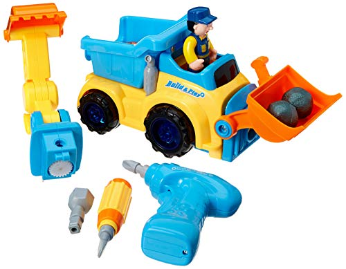 WolVol 3-in-1 Construction Bulldozer Dump Excavator Take-A-Part Truck Toy with Drill and Tools, Lights and Music, Bump and Go Action (Impact Hammer Toy Truck)