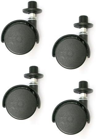 schwarz bum24-4er Set M/öbelrollen 40 mm /Ø freilaufend Doppelrollen mit Einschlagh/ülse