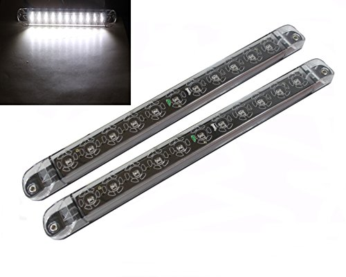 2x 17 Quot Clear White Led Surface Flange Mount Truck Trailer