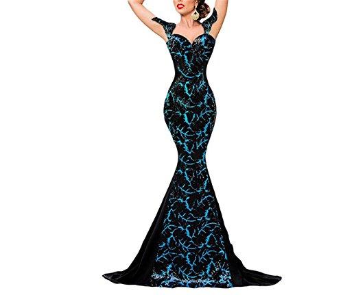4zkM Zk001 Fashion Silver Sequin Embellishment Elegant Mermaid Party Dresses Women Formal Gown Robe Longue Femme Autumn NEW LC60844 Black (Dillards Robes)