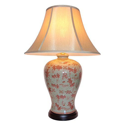 Pair Of Chinese Porcelain Vase Lamps With A Lovely Aquatic Theme