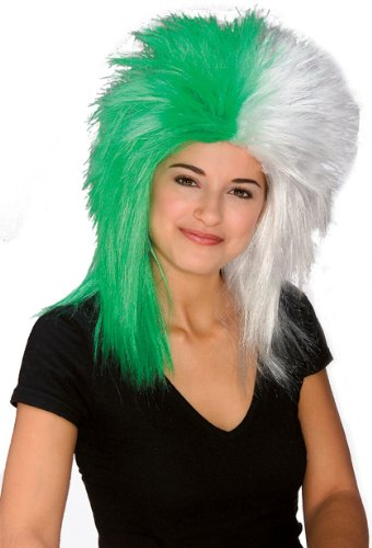 Rubie's Costume Green and White Sports Fan Wig, Green/White, One Size - Football Related Costumes