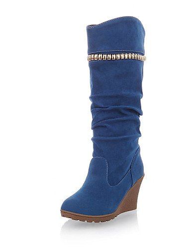 Azul Uk6 Mujer Cn39 Cerrada Eu39 Vestido us8 Y negro De Punta Zapatos Oficina Gray Xzz Casual Botas Cuña Tacón Ante Redonda Trabajo aERH1q