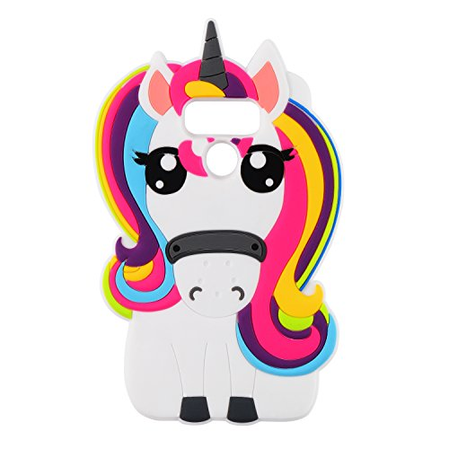 Joyleop 3D Rainbow Unicorn Case for LG V30 V30+ V30S,Soft Silicone Cartoon Animal Cute Cool Fun Shell,Kawaii Character Fashion Kids Girls Protector,Unique Rubber Skin for LG V30 Plus V30S ThinQ