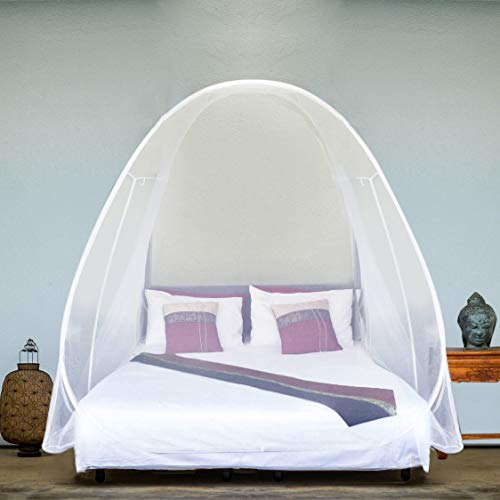Even Naturals Luxury Pop Up Mosquito Net Tent, Large: for Twin to King Size Bed, Finest Holes, Canopy, Insect Screen, Folding Design with Bottom, 2 Entries, Easy to Install, Storage Bag, No Chemicals - Box Wooden Make Planter