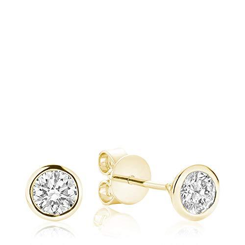Jewels By Erika E-10BZ10 10K Gold Bezel Set Diamond Solitaire Stud Earrings (Yellow-Gold)