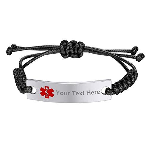 - PROSTEEL Medical Alert ID Bracelet Autism Dementia Diabetic Women Men Girl Boy Personalized Custom Engrave Id Black Leather Bracelet