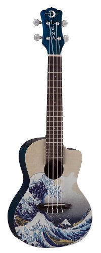 Luna Concert Ukulele with Gig Bag, Great Wave Graphic 41E06DrUK1L