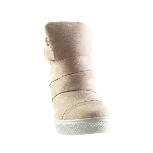 Angkorly - Zapatillas de Moda Deportivos Plataforma altas zapatillas de plataforma stile vendimia mujer tanga Talón Plataforma 8 CM - Rosa