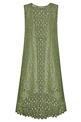 Sweater Vest Crochet - Lace Front Open Sleeveless Top Cardigan Crochet Vest Bikini Cover up Summer Beachwear (Free Size, ArmyGreen)