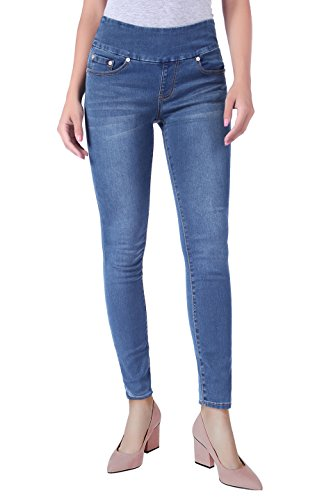 Skinny Wide Leg Jeans (BodiLove Women's Stretchy Mid Rise Pull On Yoga Denim Skinny Jeans With Wide Pull On Band Denim Medium 9)