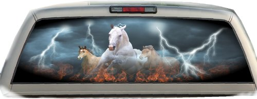 Horses- Flames- 22 Inches-by-65 Inches- Rear Window Graphics