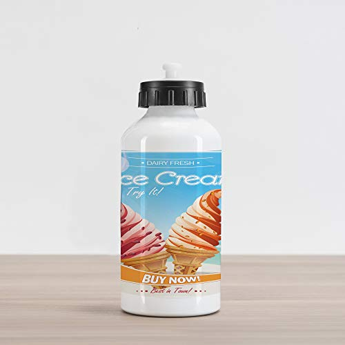 Lunarable Ice Cream Aluminum Water Bottle, Dairy Fresh Desert of Summer The Best in Town Vintage Advertising Poster Design, Aluminum Insulated Spill-Proof Travel Sports Water Bottle, - Original Advertising Poster