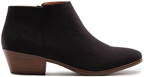 MARCOREPUBLIC Madrid Womens Medium Low Heels Ankle Booties Boots - (Black IMSU) - 9