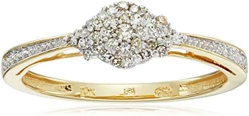 10k Yellow Gold White Diamond Ring