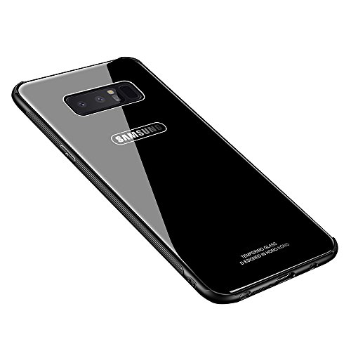 MAKAVO Samsung Galaxy Note 8 Case, MAKAVO Tempered Glass Back Cover Silicone Bumper Hybrid Anti-Scratch Shockproof Protective Hard Shell for Samsung Galaxy Note8 2017 (Black)