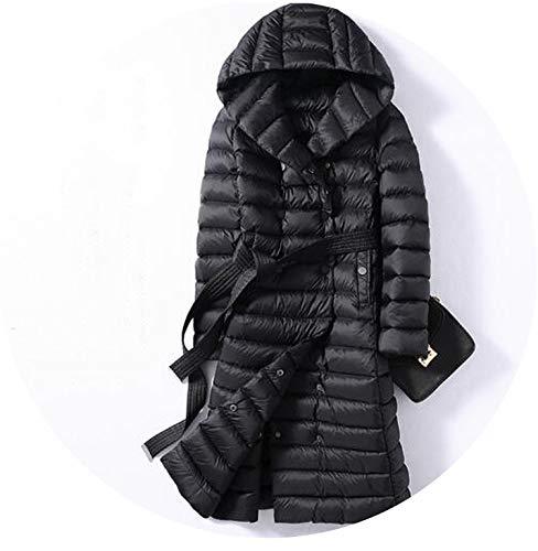 Winter Long Womens Down Jackets Down Coat Hoodie Puffer Jacket,Black,XXL