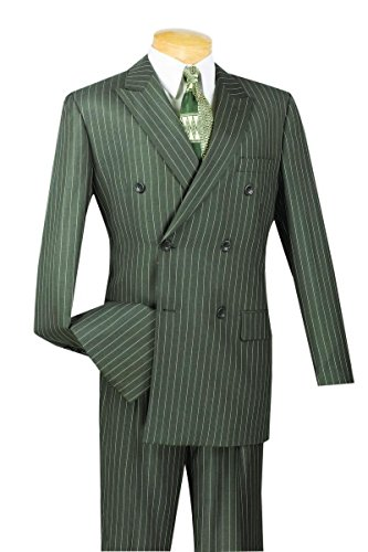 Vinci 6 Button Double Breasted Gangster Stripe Suit DSS-4-Charcoal-40R