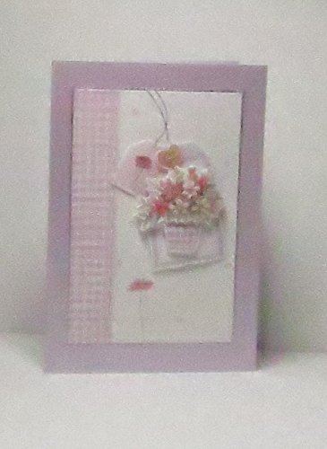 Handmade 3D Basket of Pink & White Flowers with Tags Blank Greeting Card with Glittered Strip & Silver Border, on Pale Purple Pearlescent Base, For Any Occasion - Limited Edition